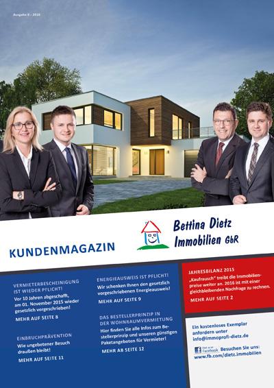 Titelseite der Ausgabe 6 des Immobilienmagazins von Bettina Dietz Immobilien