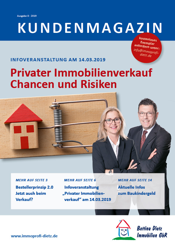 Titelseite der Ausgabe 8 des Immobilienmagazins von Bettina Dietz Immobilien