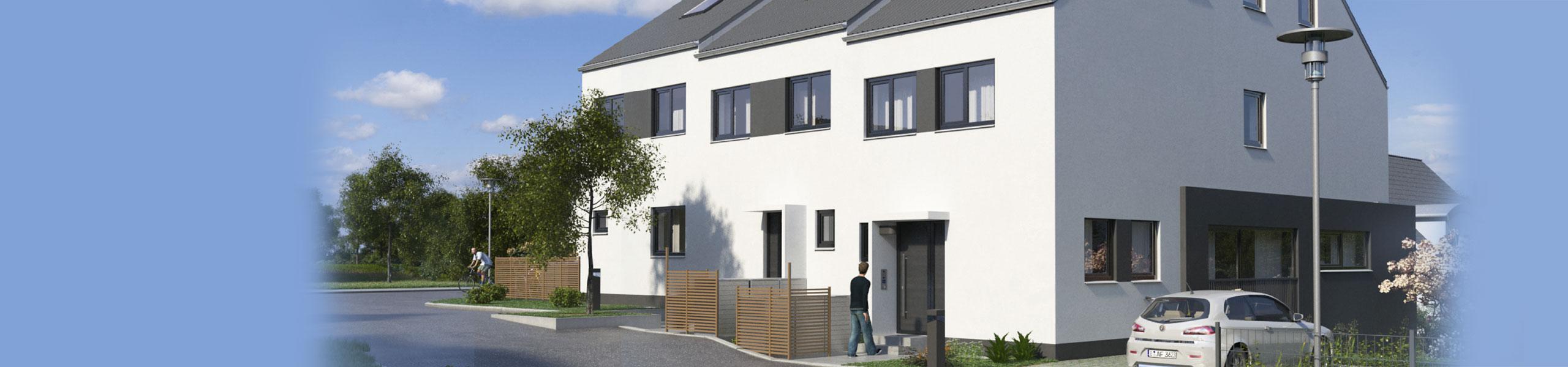 Bild eines unserer Neubauprojekte in Erbach. Sie gelangen hier zur Leistungsübersicht für Bauträger.
