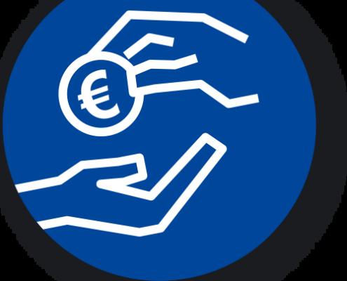 Illustration eines blauem Icons mit zwei abgebildeten Händen und einem Euro Geldstück