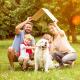 Eine Familie mit zwei Kindern und Hund kann Anspruch auf Baukindergeld haben.