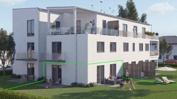 DIETZ: NEUBAU 2-Zimmer-Wohnung mit 2 Terrassen, Grünfläche und Fußbodenheizung!, 64839 Münster, Terrassenwohnung